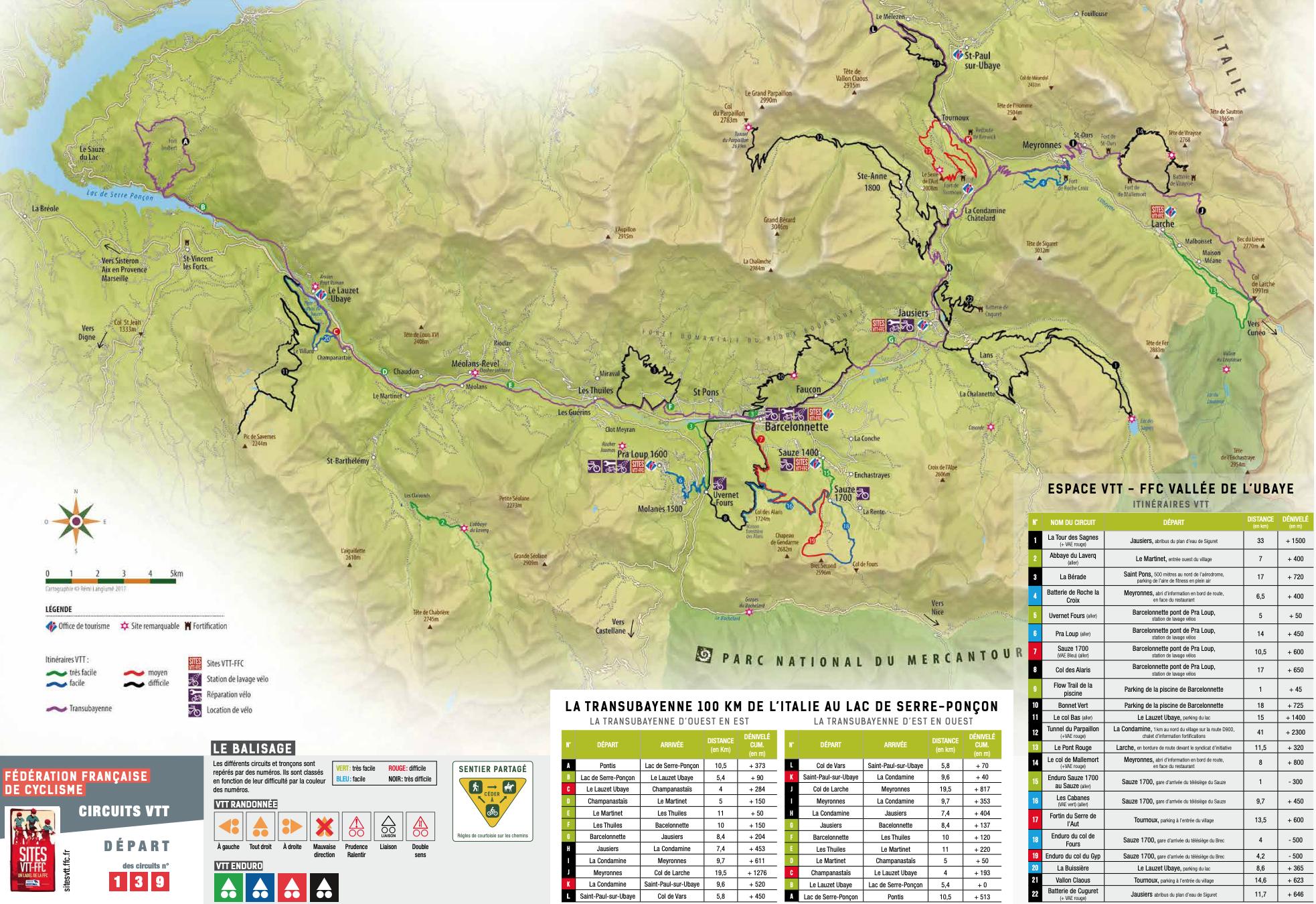 kaart van fietsroutes in de Ubaye vallei