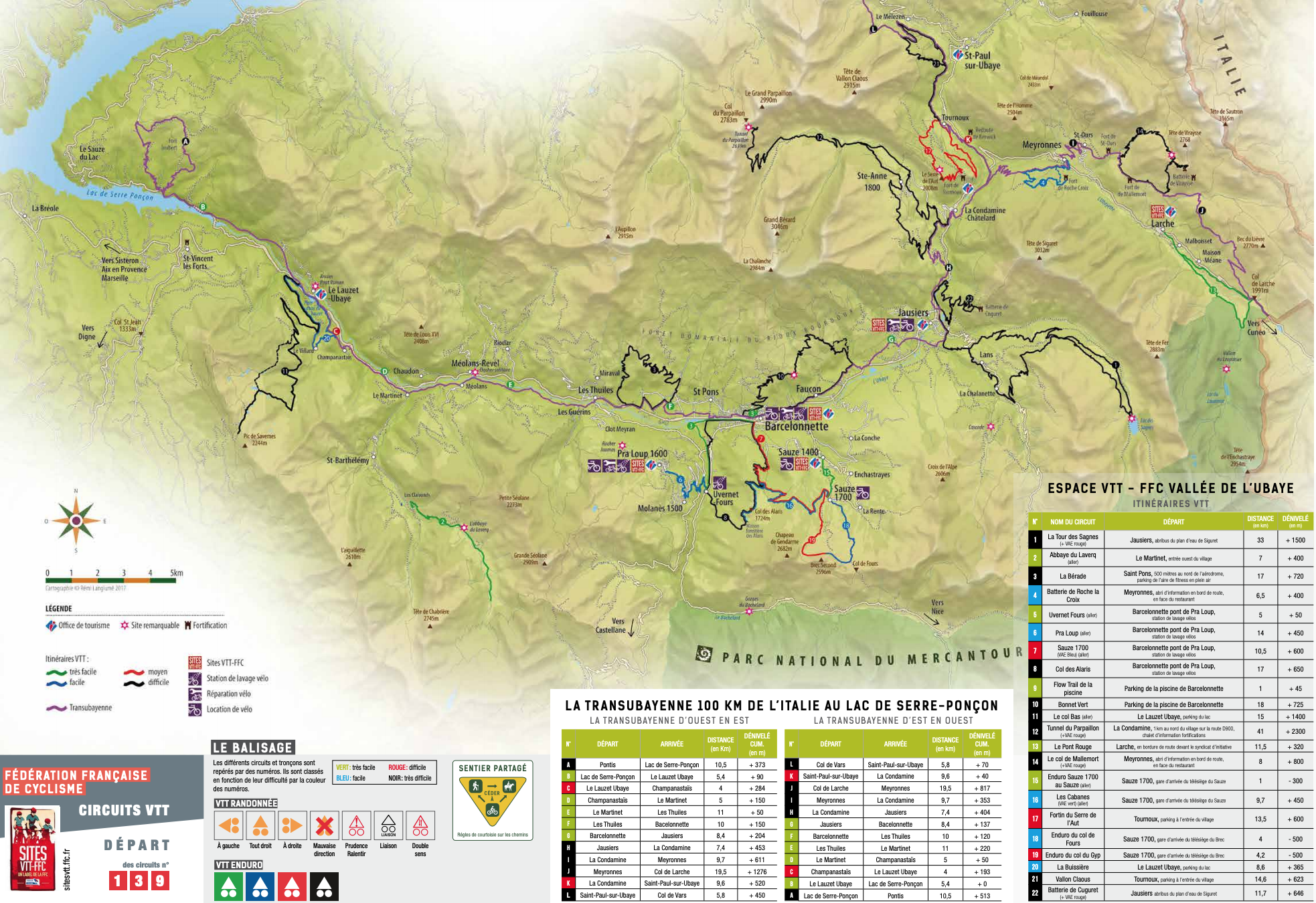 Ubaye cycling map